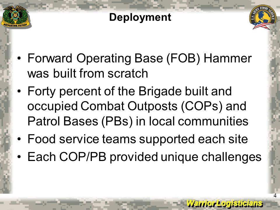 Warrior Logisticians Improvements Toledo Pulido DFAC Interior COP Cleary COP Carver Exterior COP Cleary