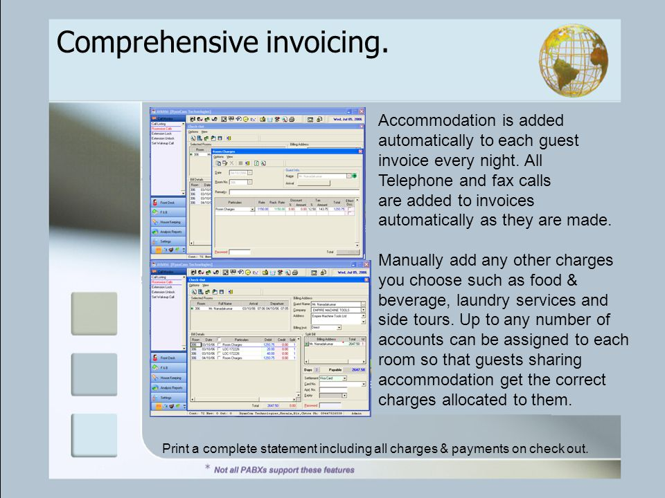 Comprehensive invoicing. Accommodation is added automatically to each guest invoice every night.
