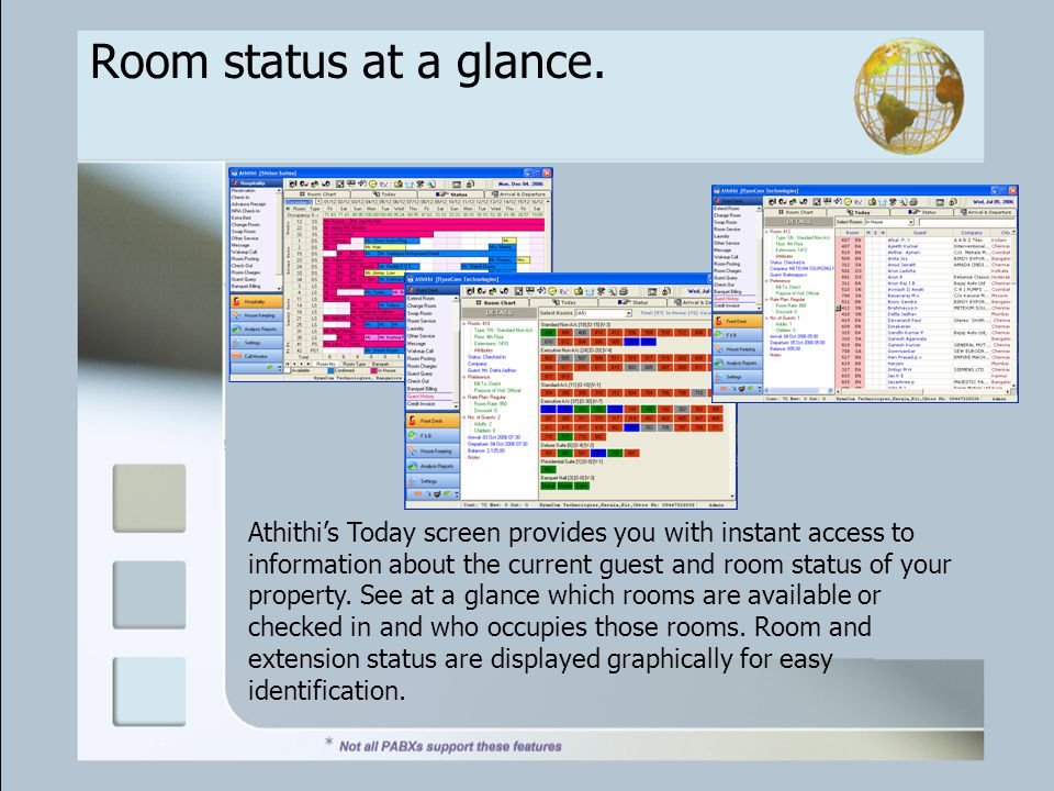 Room status at a glance.
