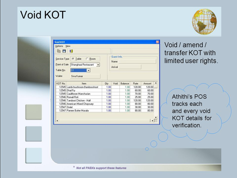 Void / amend / transfer KOT with limited user rights.
