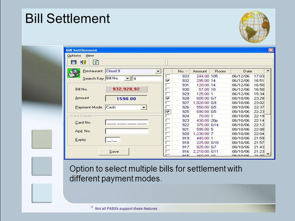 Bill Settlement Option to select multiple bills for settlement with different payment modes.