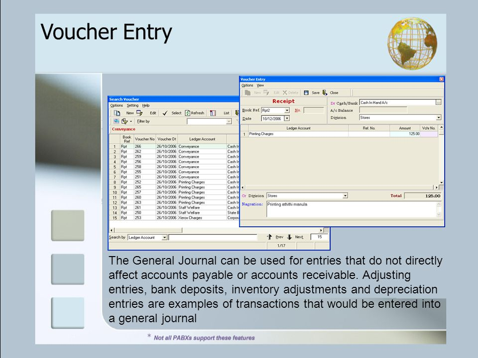 Voucher Entry The General Journal can be used for entries that do not directly affect accounts payable or accounts receivable.