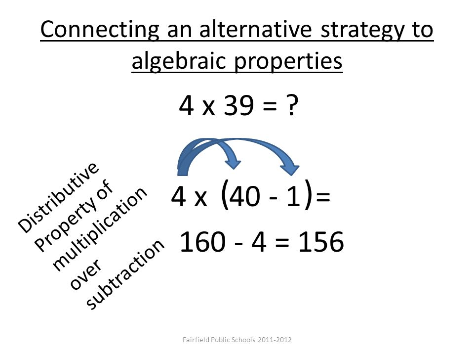 4 x 39 = ? 4 x 40 - 1 = 160 - 4 = 156 ( ) Distributive Property of multiplication over subtraction Connecting an alternative strategy to algebraic pro