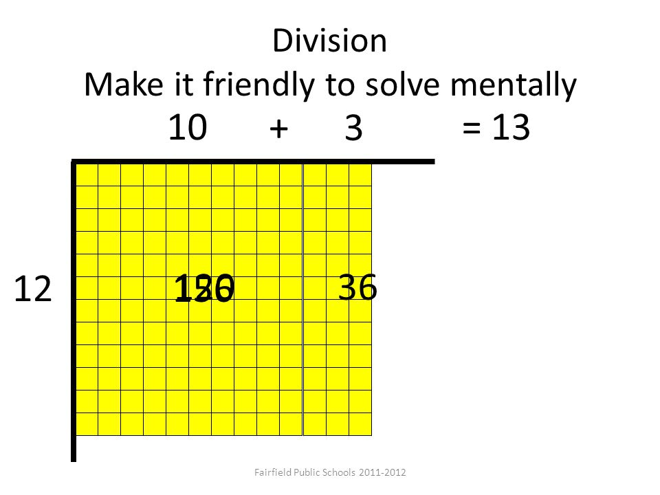 Division Make it friendly to solve mentally 12 156 12036 10 + 3 = 13 Fairfield Public Schools 2011-2012