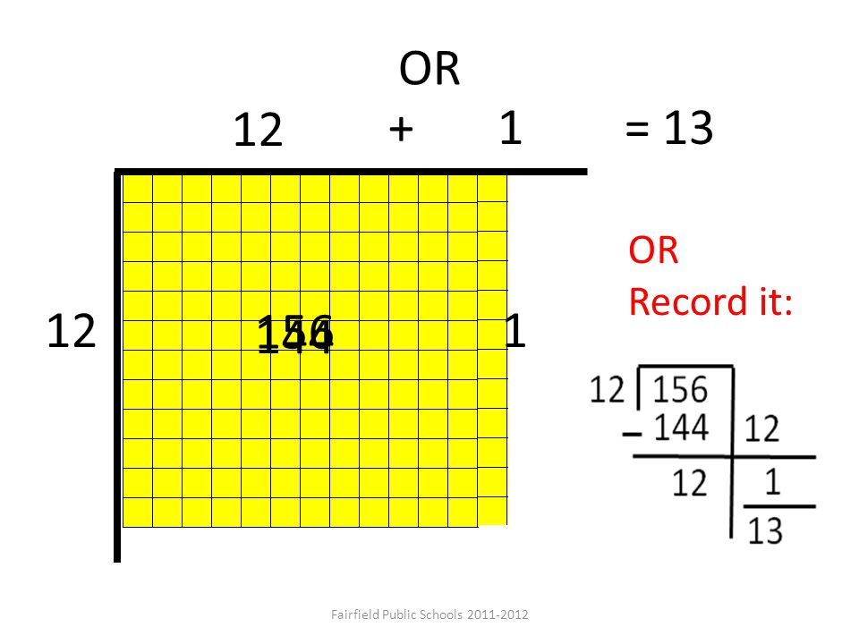 OR use your understanding of 5 x 12… 12 156 + 3+ 5 5 36 60 = 13 Fairfield Public Schools 2011-2012 Which can be recorded as:
