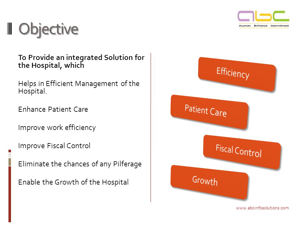 Objective To Provide an integrated Solution for the Hospital, which Helps in Efficient Management of the Hospital.
