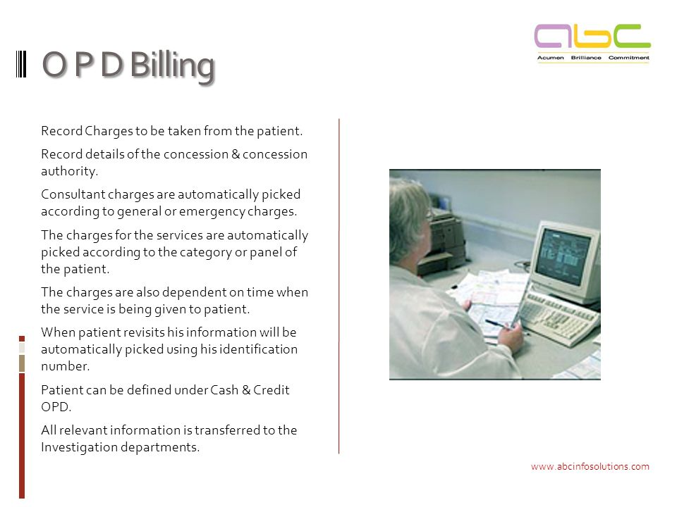 O P D Billing Record Charges to be taken from the patient.