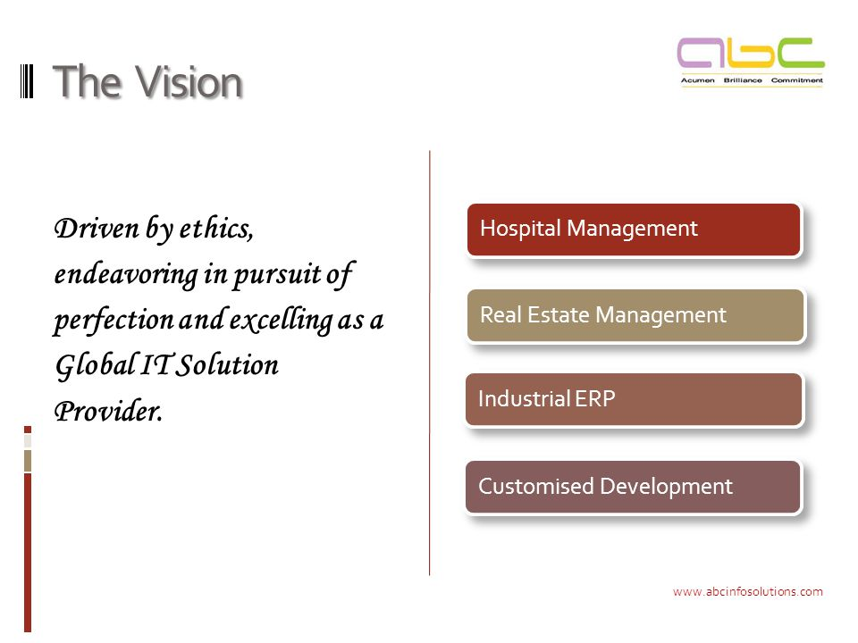 The Vision Driven by ethics, endeavoring in pursuit of perfection and excelling as a Global IT Solution Provider.
