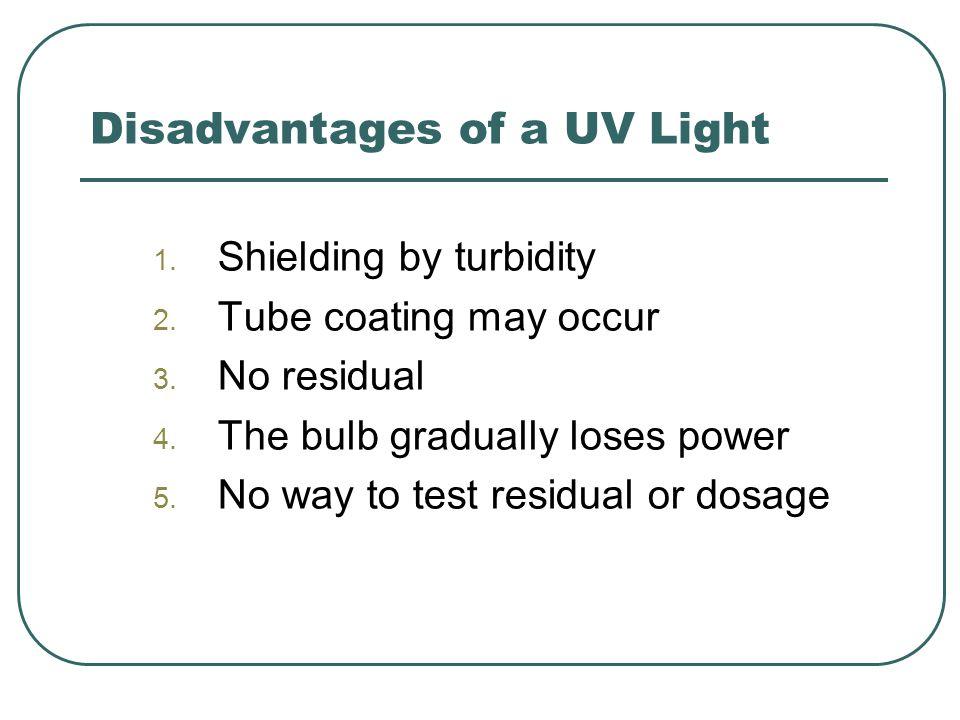 Disadvantages of a UV Light 1. Shielding by turbidity 2.