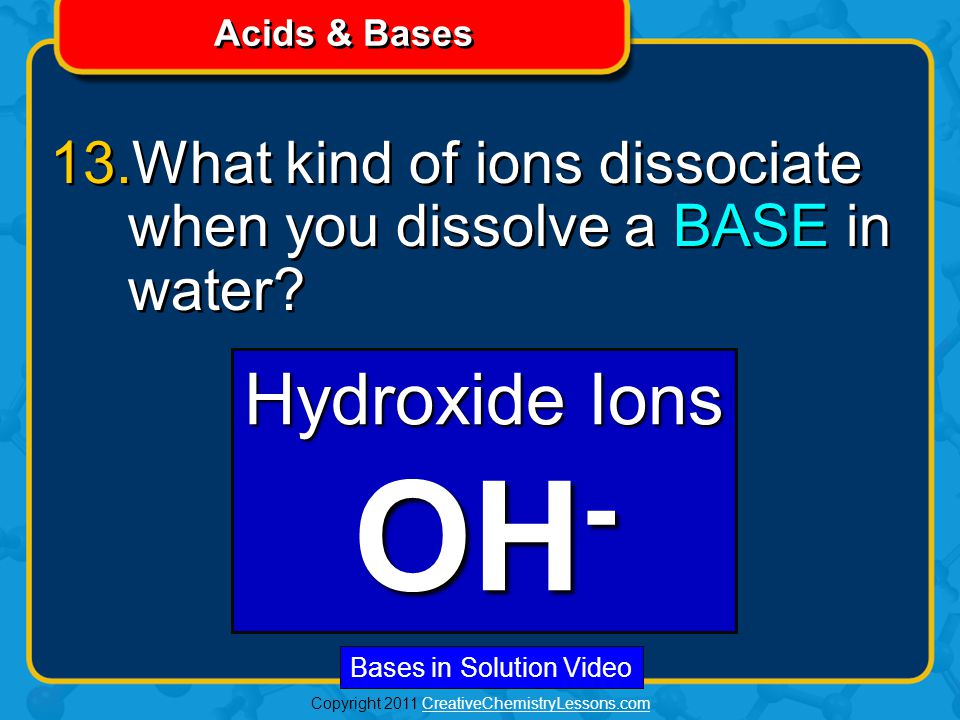 Copyright 2011 CreativeChemistryLessons.comCreativeChemistryLessons.com Acids & Bases 13.What kind of ions dissociate when you dissolve a BASE in water.