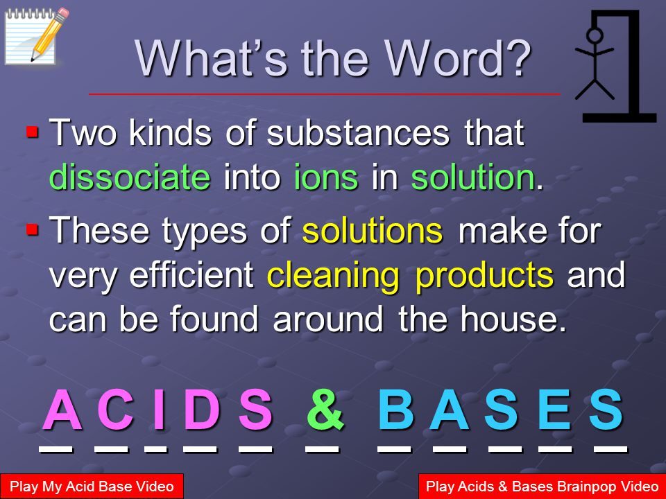 What's the Word.  Two kinds of substances that dissociate into ions in solution.
