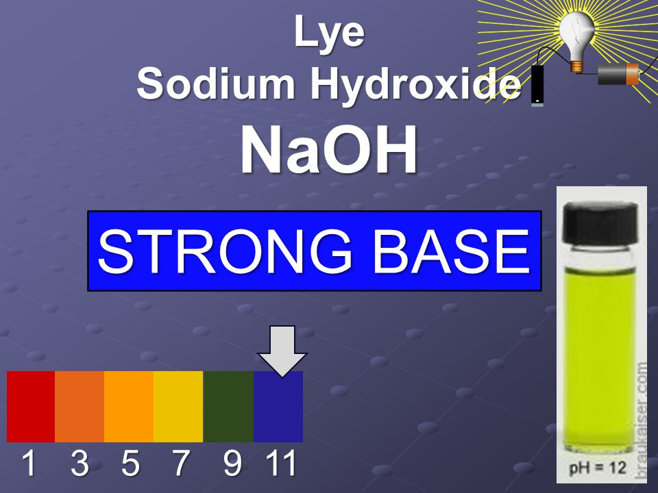 1 3 5 7 9 11 Lye Sodium Hydroxide NaOH STRONG BASE