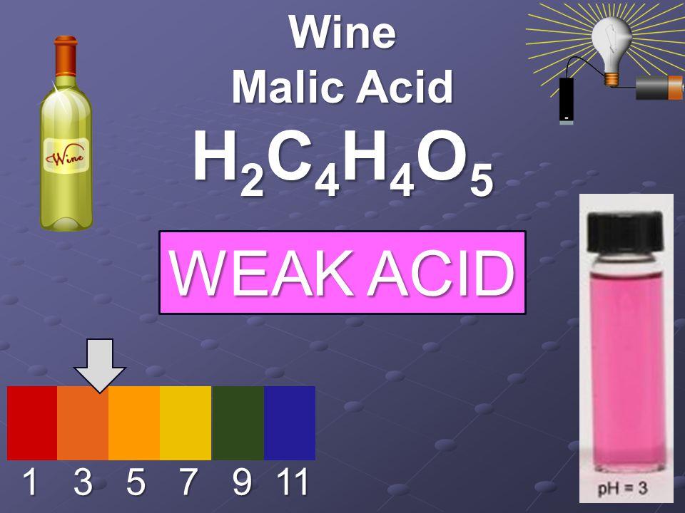 1 3 5 7 9 11 Wine Malic Acid H2C4H4O5H2C4H4O5H2C4H4O5H2C4H4O5 WEAK ACID