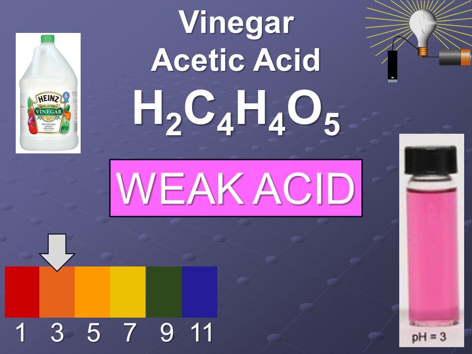 1 3 5 7 9 11 Vinegar Acetic Acid H2C4H4O5H2C4H4O5H2C4H4O5H2C4H4O5 WEAK ACID