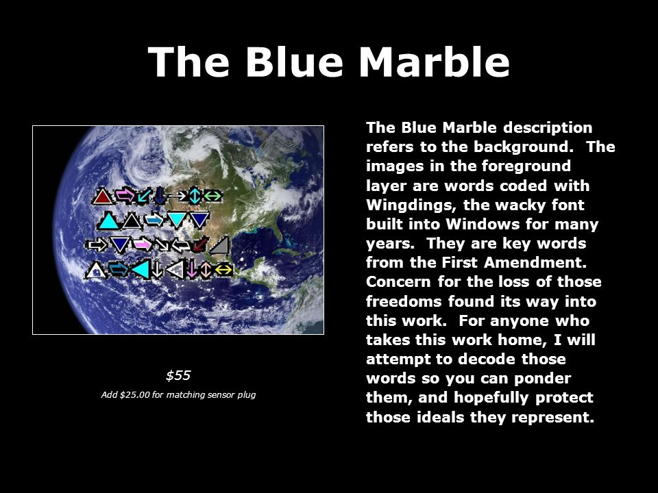 The Blue Marble The Blue Marble description refers to the background.