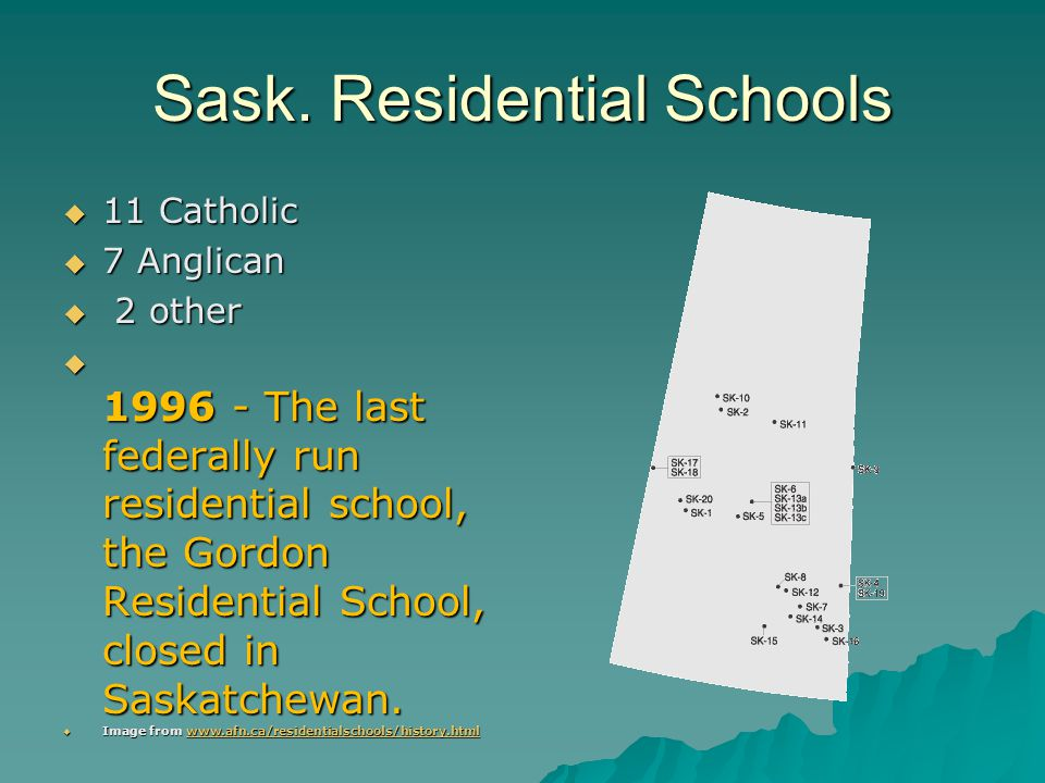 Sask. Residential Schools  11 Catholic  7 Anglican  2 other  1996 - The last federally run residential school, the Gordon Residential School, clos