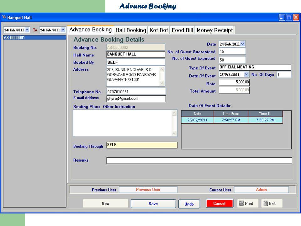 Advance Booking