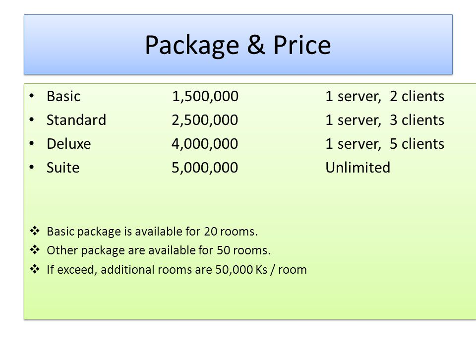 Package & Price Basic 1,500,000 1 server, 2 clients Standard2,500,000 1 server, 3 clients Deluxe4,000,000 1 server, 5 clients Suite5,000,000 Unlimited