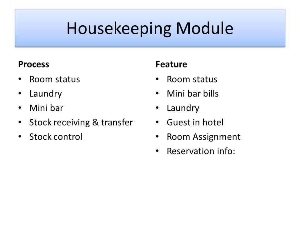 Housekeeping Module Process Room status Laundry Mini bar Stock receiving & transfer Stock control Feature Room status Mini bar bills Laundry Guest in