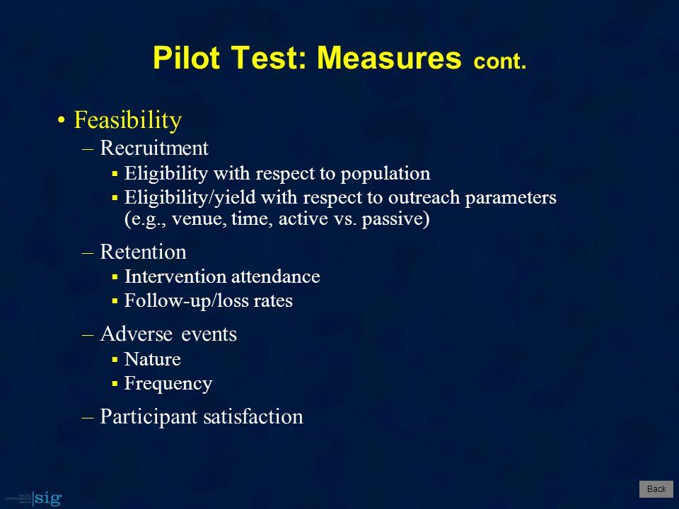 Pilot Test: Measures cont.