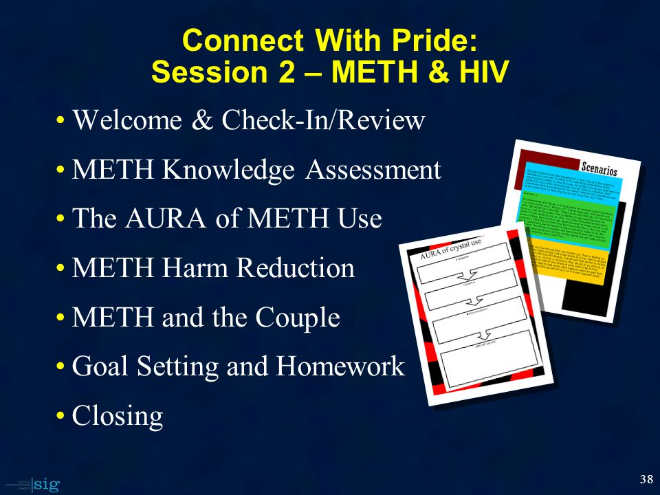 38 Connect With Pride: Session 2 – METH & HIV Welcome & Check-In/Review METH Knowledge Assessment The AURA of METH Use METH Harm Reduction METH and the Couple Goal Setting and Homework Closing