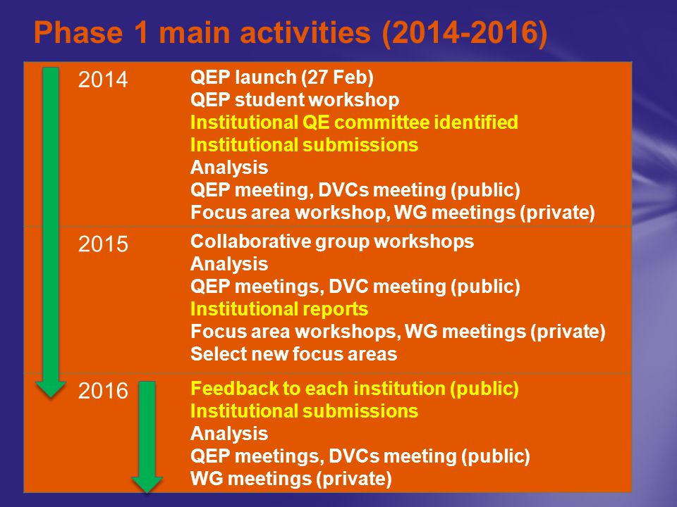 Phase 1 main activities (2014-2016) 2014 QEP launch (27 Feb) QEP student workshop Institutional QE committee identified Institutional submissions Analysis QEP meeting, DVCs meeting (public) Focus area workshop, WG meetings (private) 2015 Collaborative group workshops Analysis QEP meetings, DVC meeting (public) Institutional reports Focus area workshops, WG meetings (private) Select new focus areas 2016 Feedback to each institution (public) Institutional submissions Analysis QEP meetings, DVCs meeting (public) WG meetings (private)