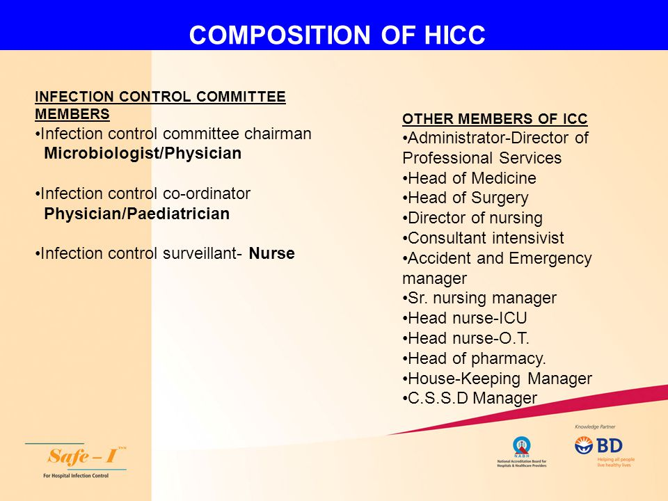 COMPOSITION OF HICC INFECTION CONTROL COMMITTEE MEMBERS Infection control committee chairman Microbiologist/Physician Infection control co-ordinator P