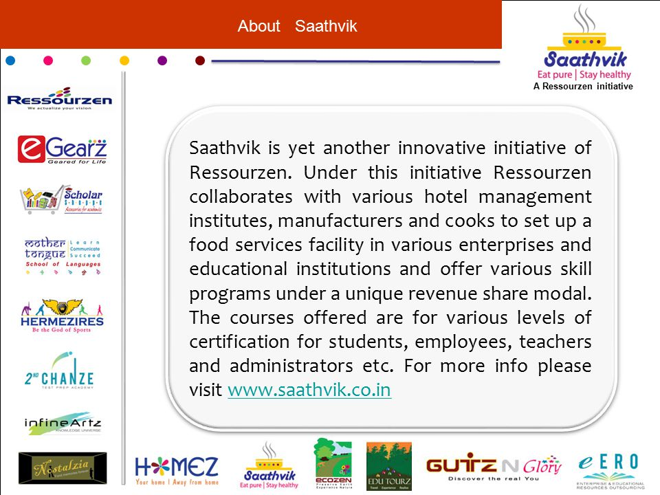 About Saathvik Saathvik is yet another innovative initiative of Ressourzen.