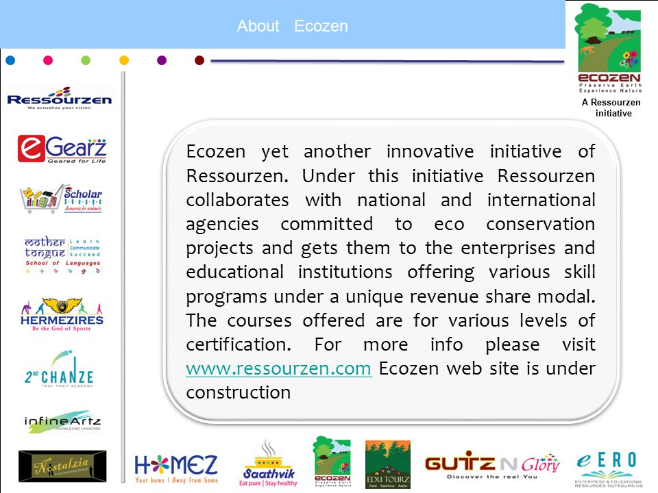 About Ecozen Ecozen yet another innovative initiative of Ressourzen.