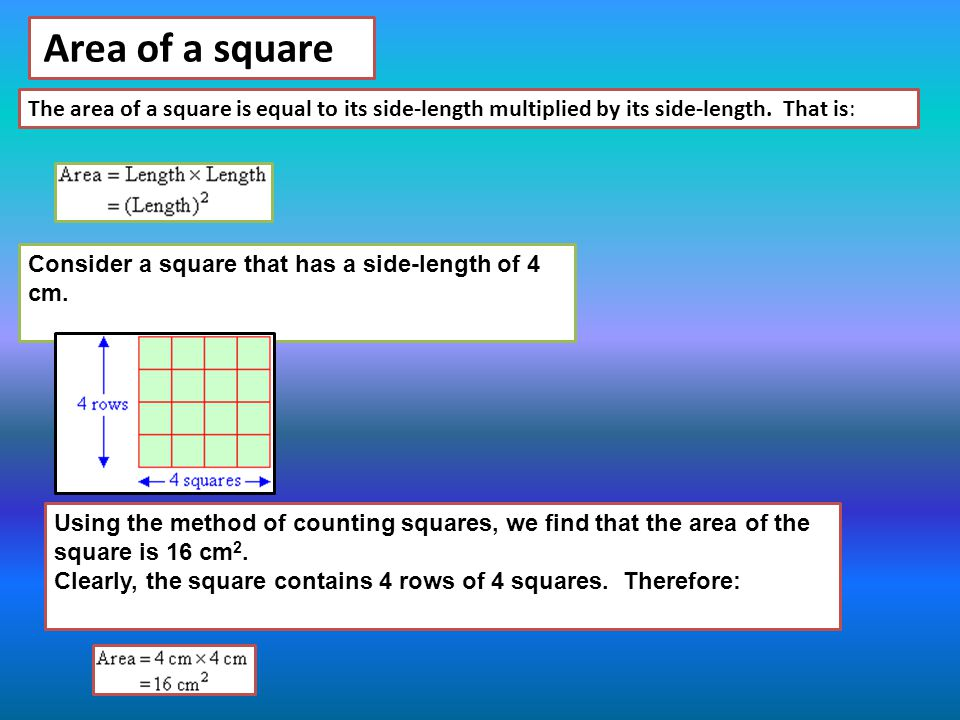The area of a square is equal to its side-length multiplied by its side-length. That is: Area of a square Consider a square that has a side-length of