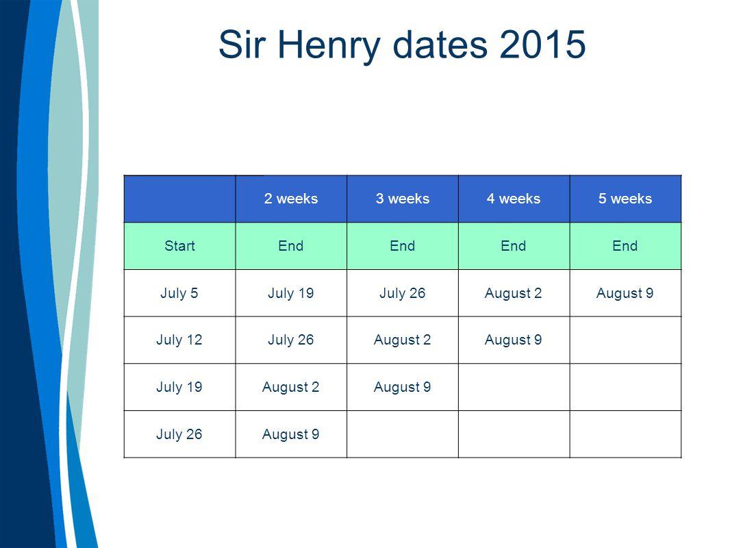 Sir Henry dates 2015 2 weeks3 weeks4 weeks5 weeks StartEnd July 5July 19July 26August 2August 9 July 12July 26August 2August 9 July 19August 2August 9 July 26August 9