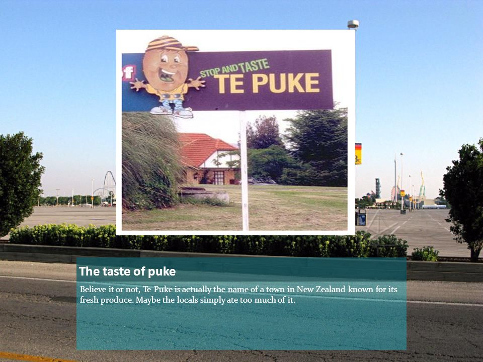 The taste of puke Believe it or not, Te Puke is actually the name of a town in New Zealand known for its fresh produce.