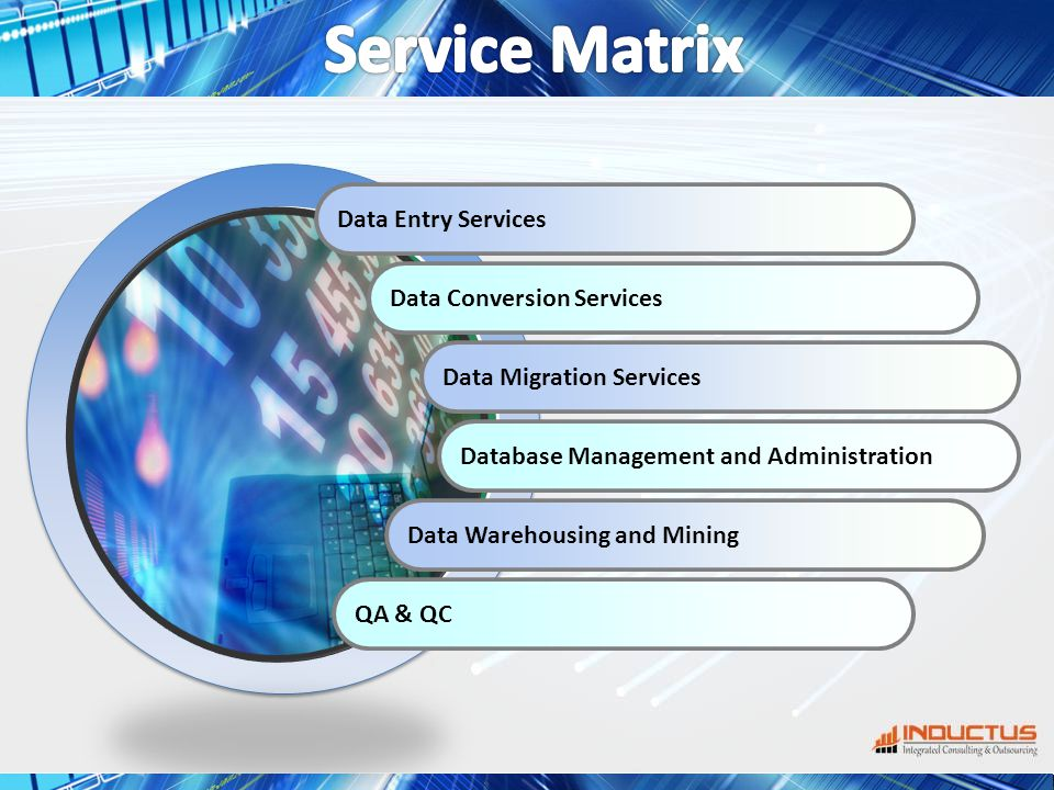 Data Entry Services Data Conversion Services Data Migration Services Database Management and Administration Data Warehousing and Mining QA & QC