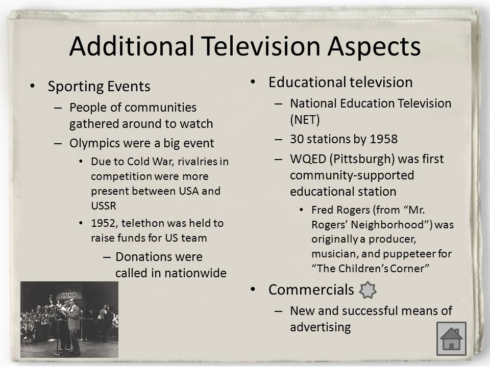 Additional Television Aspects Sporting Events – People of communities gathered around to watch – Olympics were a big event Due to Cold War, rivalries