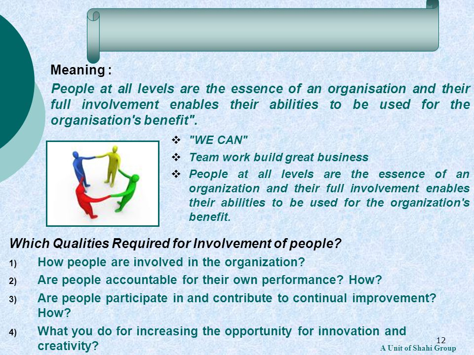 12 A Unit of Shahi Group Meaning : People at all levels are the essence of an organisation and their full involvement enables their abilities to be us