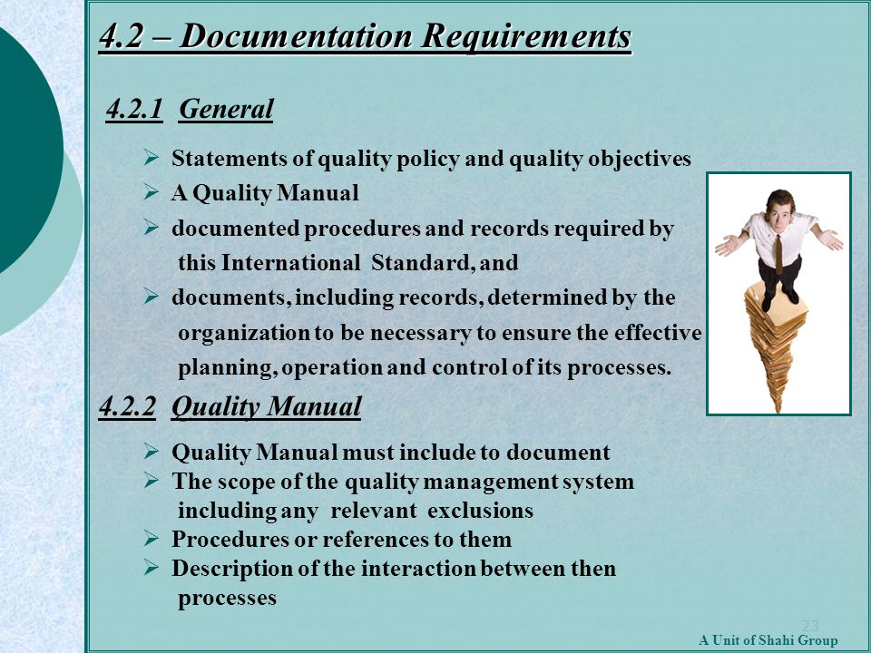 23 A Unit of Shahi Group 4.2 – Documentation Requirements 4.2.1 General  Statements of quality policy and quality objectives  A Quality Manual  doc