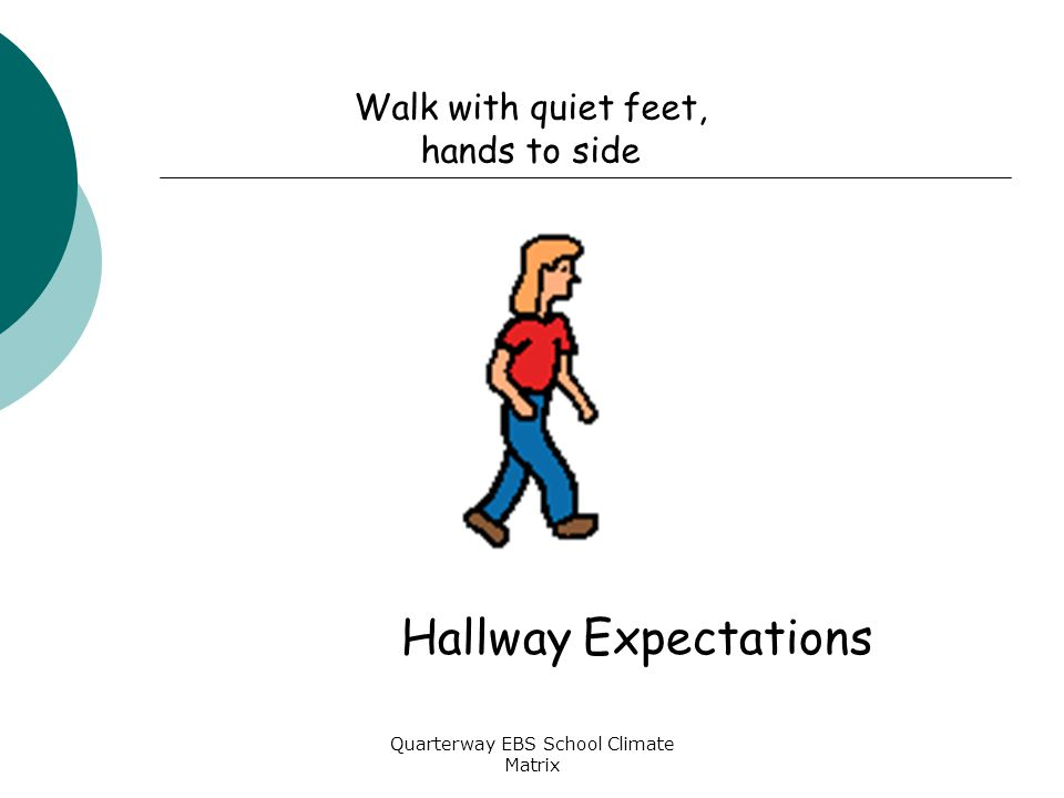 Quarterway EBS School Climate Matrix Walk with quiet feet, hands to side Hallway Expectations