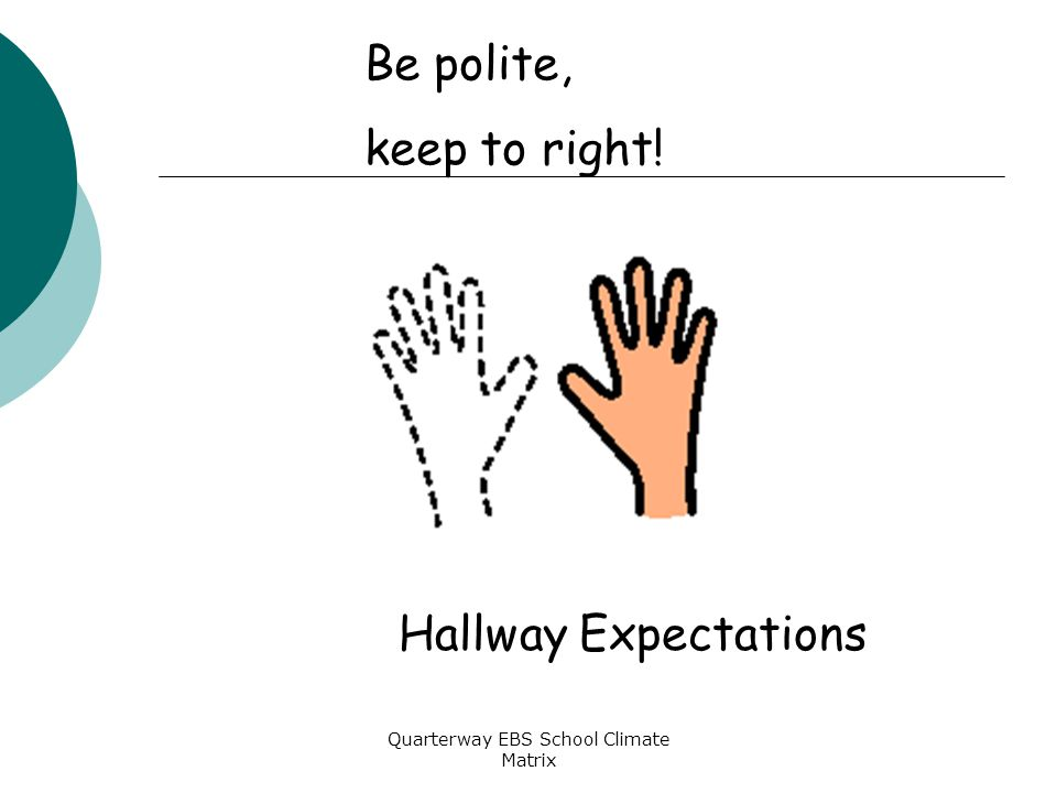 Quarterway EBS School Climate Matrix Be polite, keep to right! Hallway Expectations