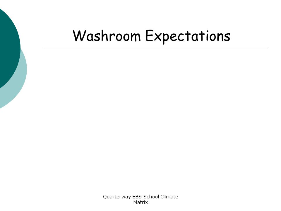 Quarterway EBS School Climate Matrix Washroom Expectations
