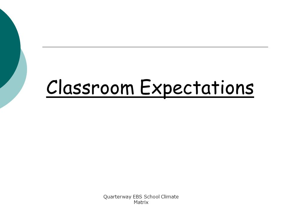 Quarterway EBS School Climate Matrix Classroom Expectations