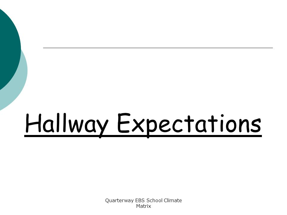 Quarterway EBS School Climate Matrix Hallway Expectations