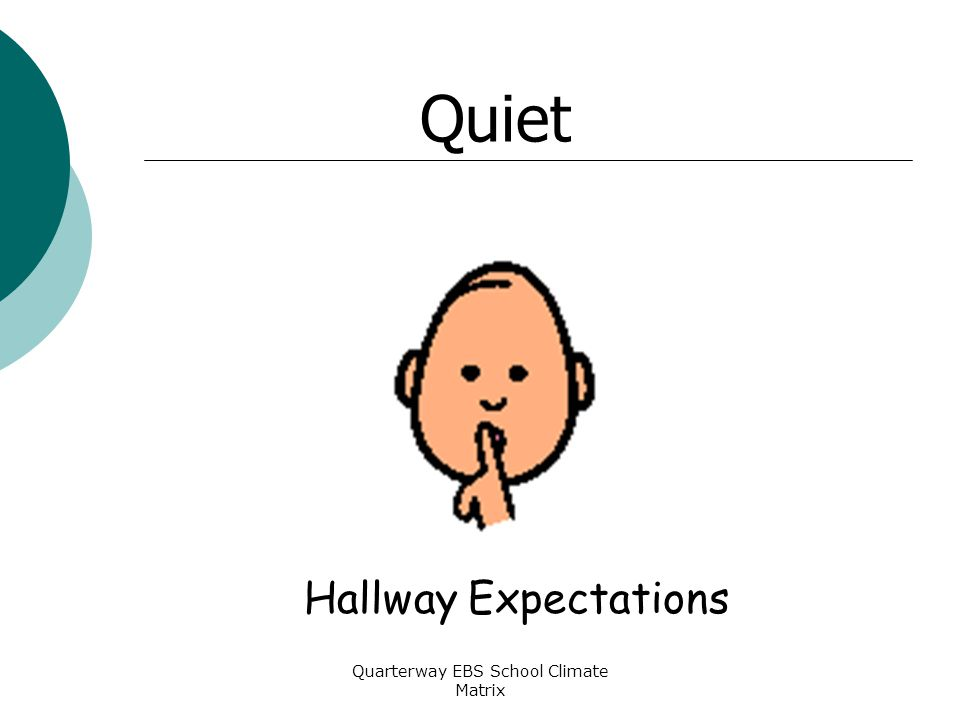 Quarterway EBS School Climate Matrix Hallway Expectations Quiet