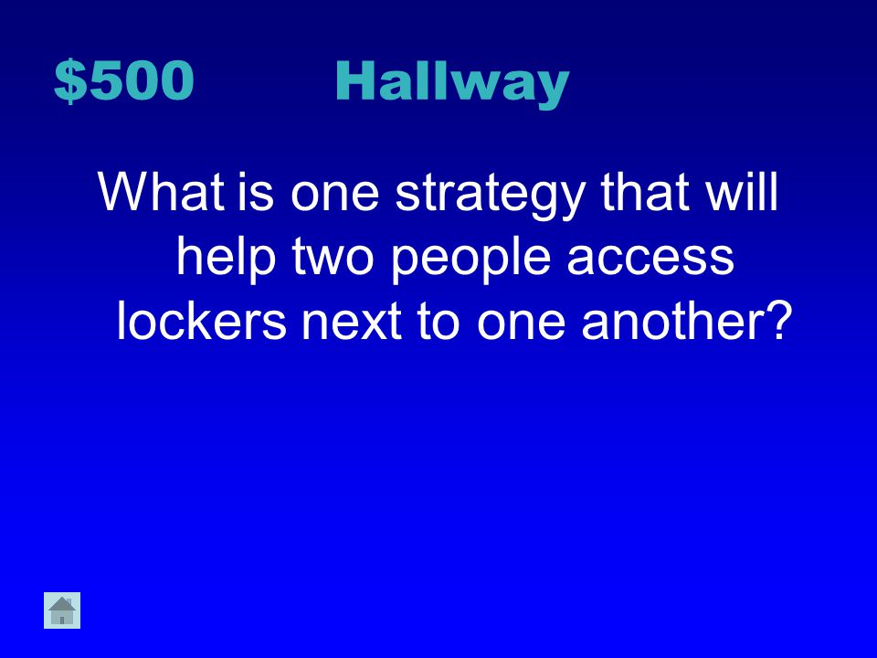 $400 Hallway Why do we walk in a single file line through the hall?