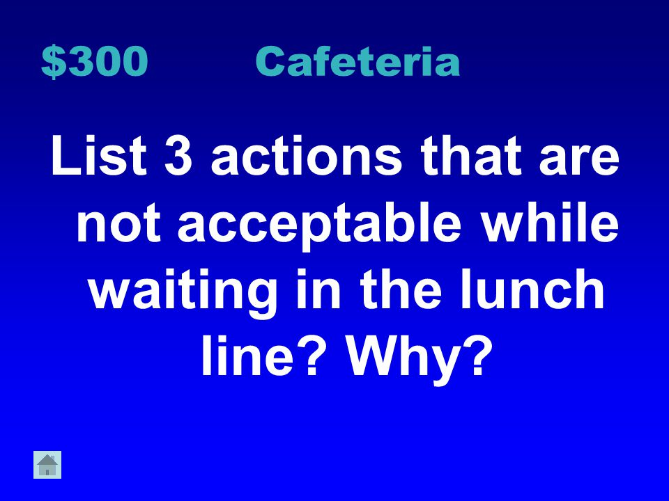 $200 Cafeteria Why is it important use an inside voice during lunch
