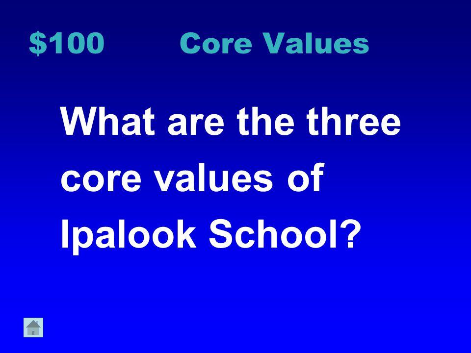 Core Values Hallway 2 Bathroom 3 Cafeteria 4 Recess 5 Bus 6 $100 $200 $300 $400 $500