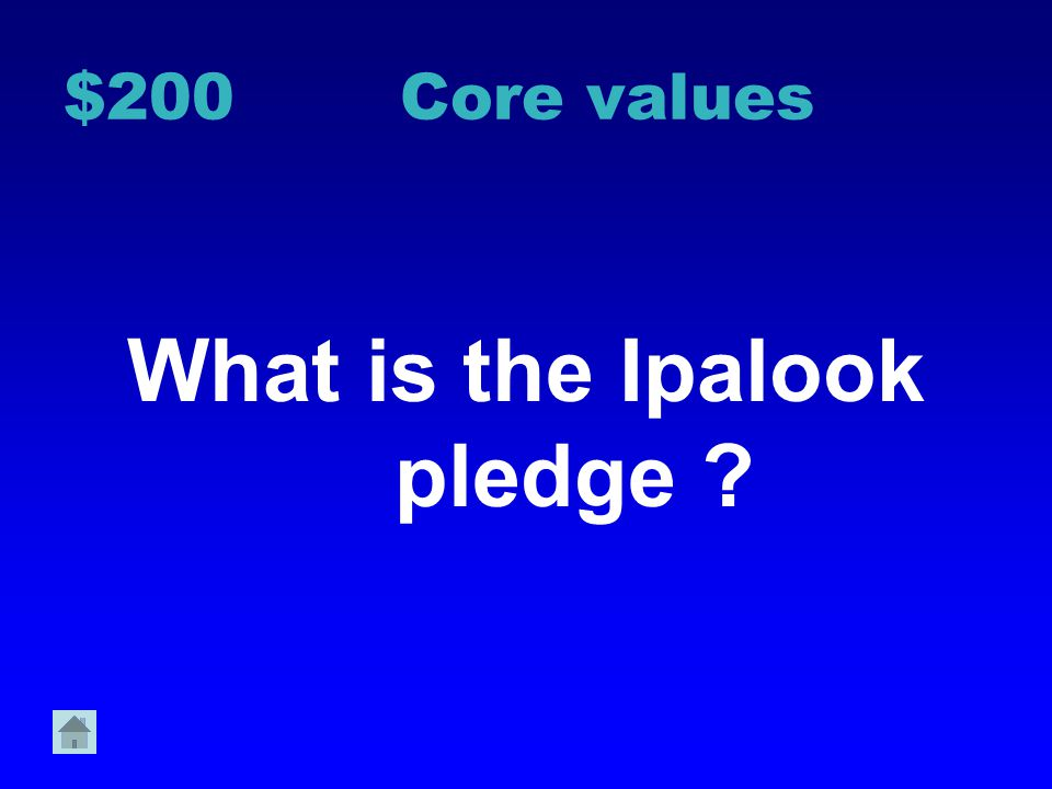 $100 Core Values What are the three core values of Ipalook School?