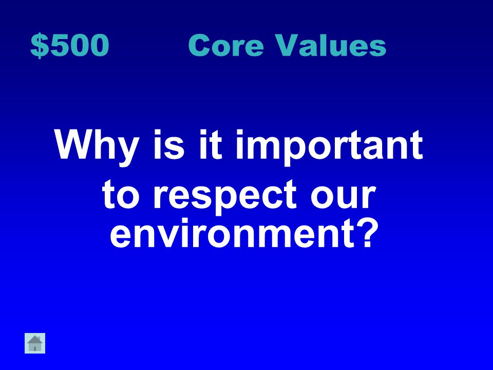 $400 Core Values Why is it important to respect ourselves