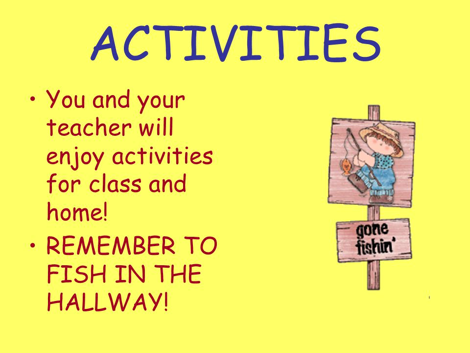 WE ALL FISH IN THE HALLWAY AT MES.