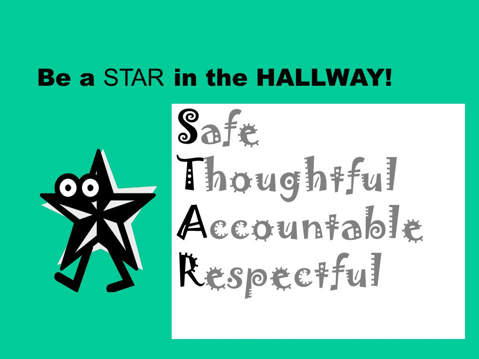 Safe Thoughtful Accountable Respectful Be a STAR in the HALLWAY!
