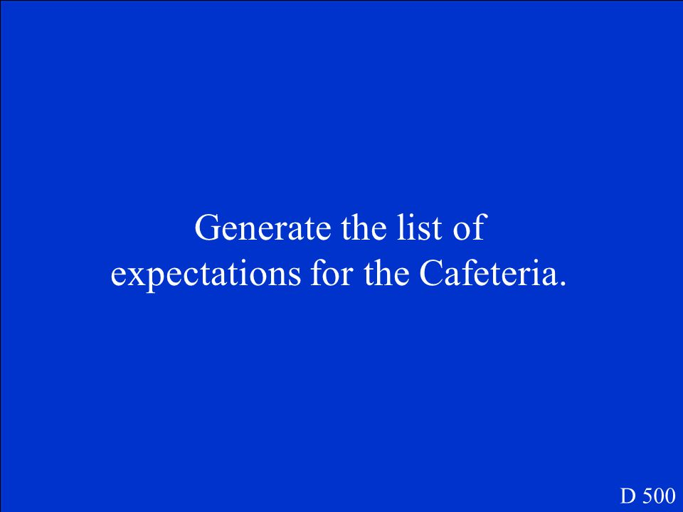 Generate the list of expectations for the Cafeteria. D 500